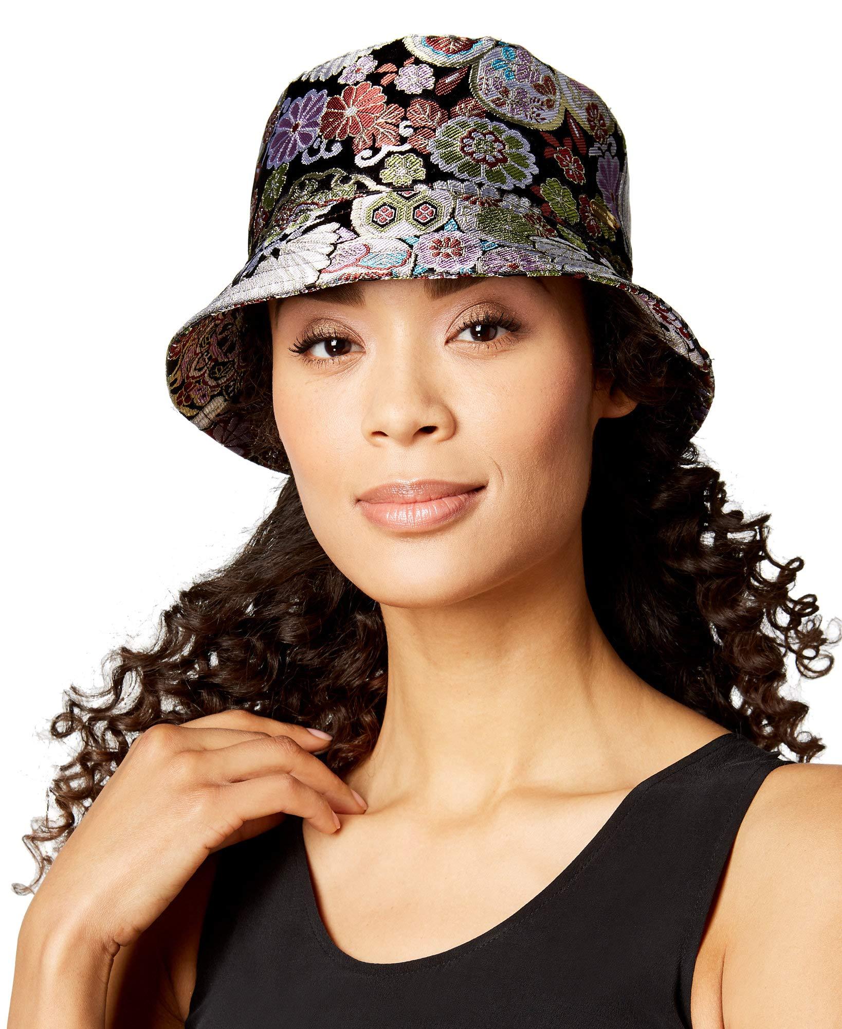 Steve Madden Women's Floral Brocade Bucket Hat,Black Multi,One Size