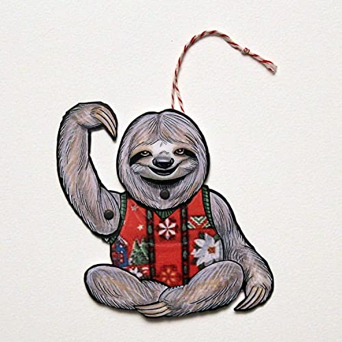 47934332df90dc Image Unavailable. Image not available for. Color  Sloth Ugly Sweater  Jointed Gift Tag or Christmas ...
