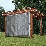 EZ2hang Garden Shade Fabric Adjustable Vertical Side Wall Panel for Patio/Pergola/Window 6x8ft Grey