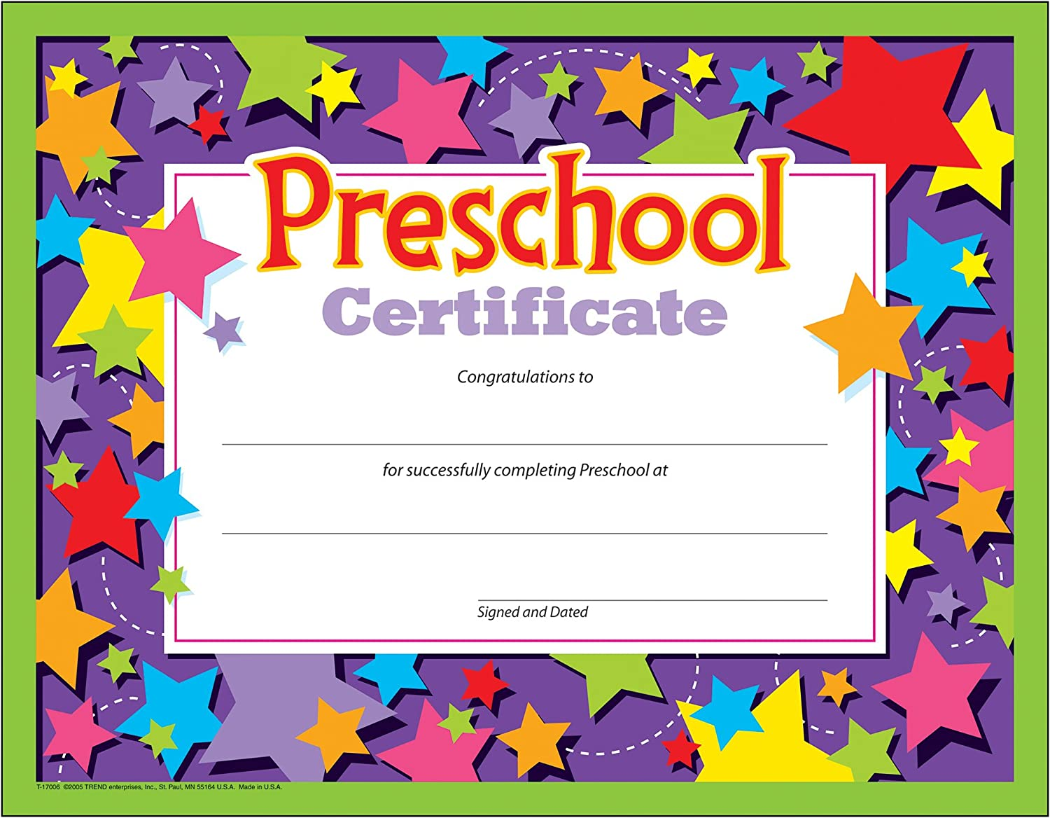 Amazon Com Preschool Certificates Pack Of 30 Blank Certificates Office Products