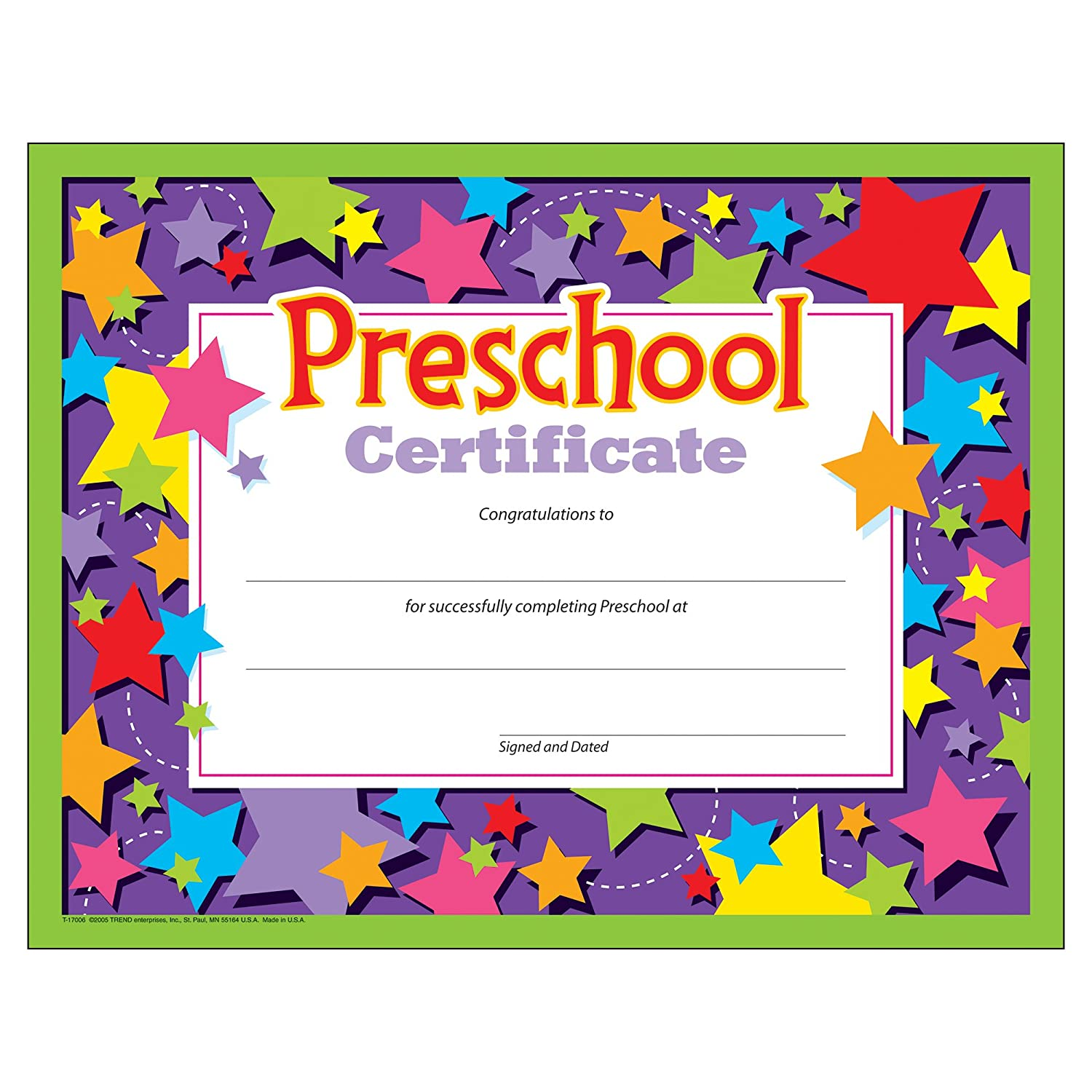 Amazon.com : Preschool Certificates (Pack of 30) : Blank ...