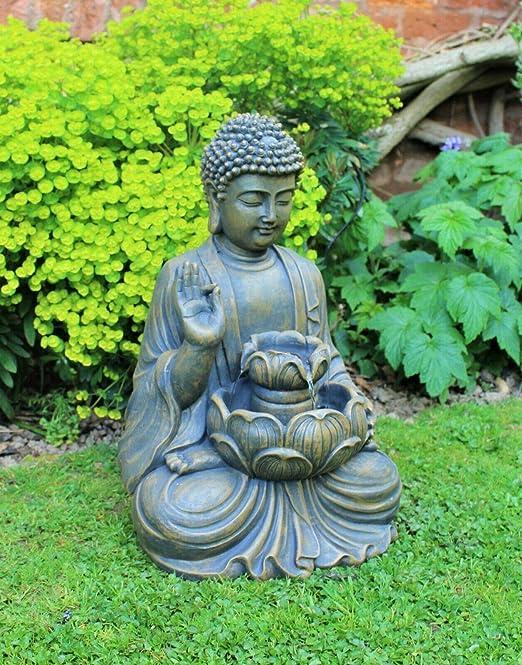 Home Hut Buda Fuente de Agua Fuente de jardín Adorno Decoración al Aire Libre LED Bronce 50 cm: Amazon.es: Jardín