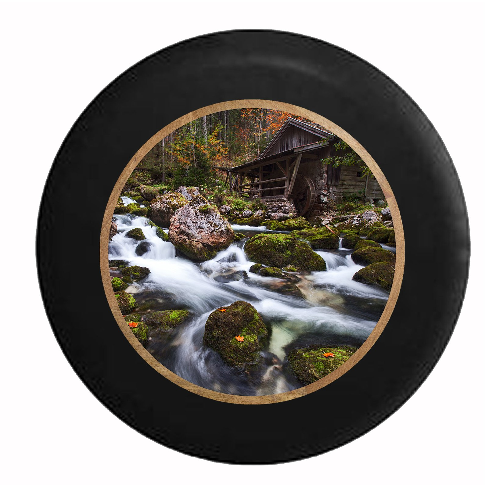 Pike Outdoors Full Color Mystic Enchanted Woods Water Mill House on Rocky River Spare Tire Cover fits SUV Camper RV Accessories Black 33 in by Pike Outdoors