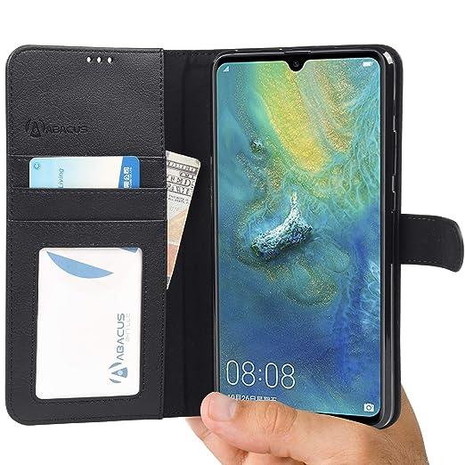 Huawei Mate 20 X Hülle [Schwarz] Tasche Mate 20X Brieftasche [Abacus24-7® Bookstyle] Handy-hülle/Leder-Tasche mit Ständer Fäc
