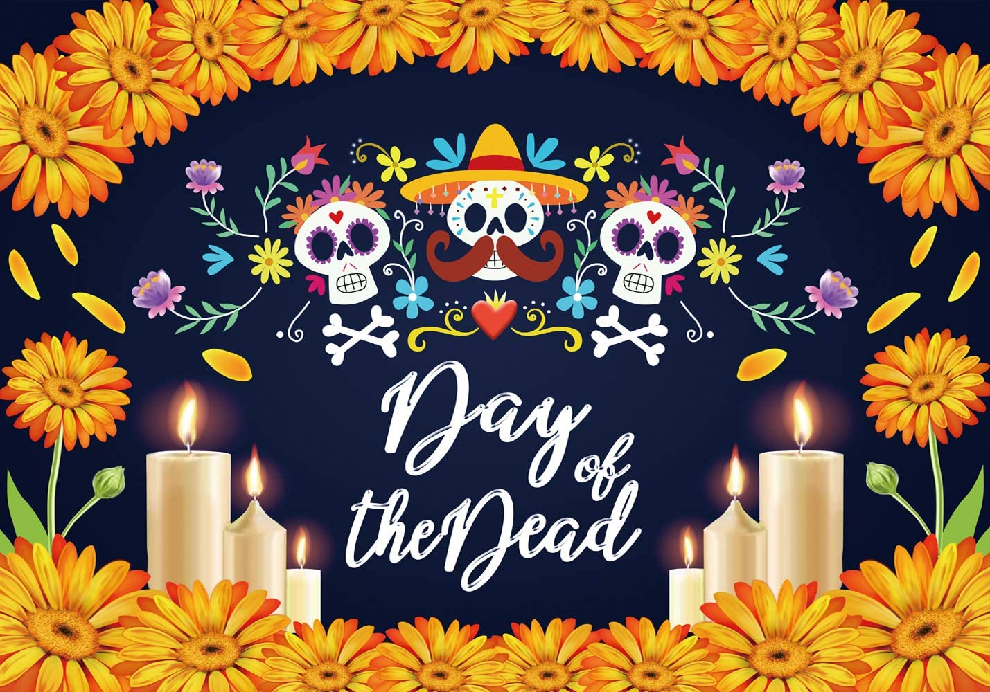 LTLYH 7x5ft Day of The Dead Backdrop Mexican Sugar Skull Flower Photo Backdrop Fabric Dia de Los Muertos Party Cake Table Banner Photo Booth Backdrop Props A065