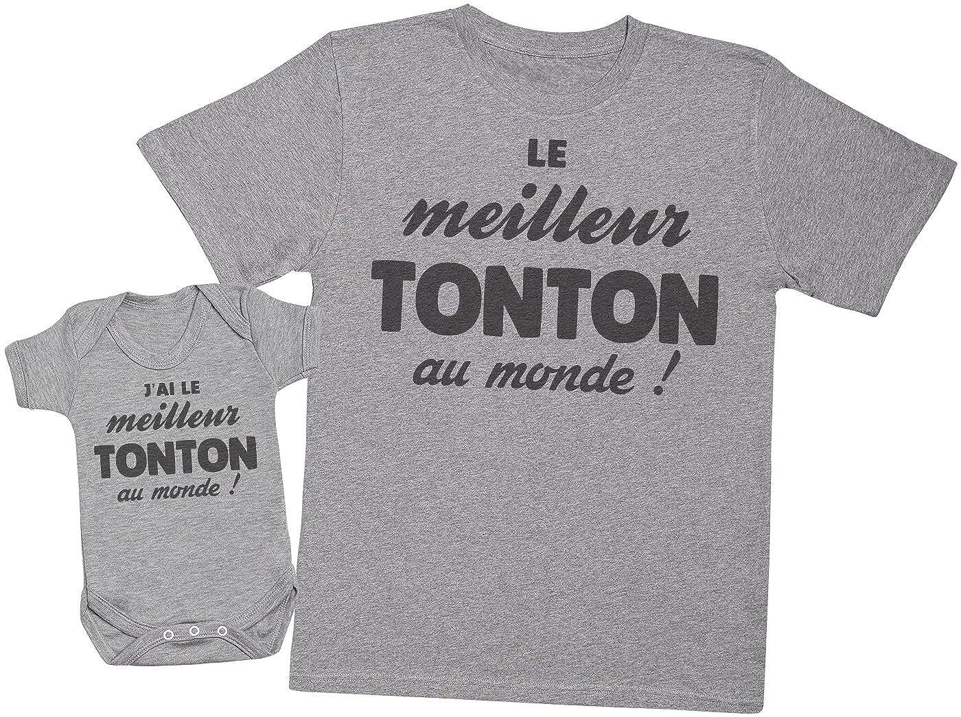 Ensemble Tonton B/éb/é Cadeau Zarlivia Clothing JAi Le Tonton au Monde! Hommes T-Shirt /& Body b/éb/é