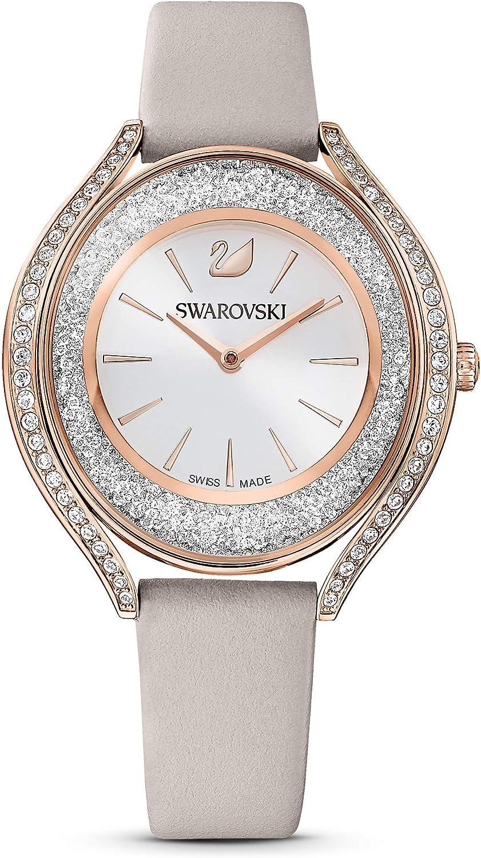 Swarovski Reloj Crystalline Aura, correa de piel, gris, PVD tono oro rosa