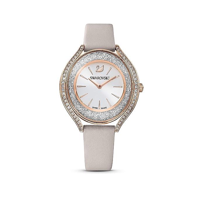 Swarovski Women's Crystalline Aura Analogue Watch, White Swarovski Crystal Wristwatch with Taupe Leather Strap