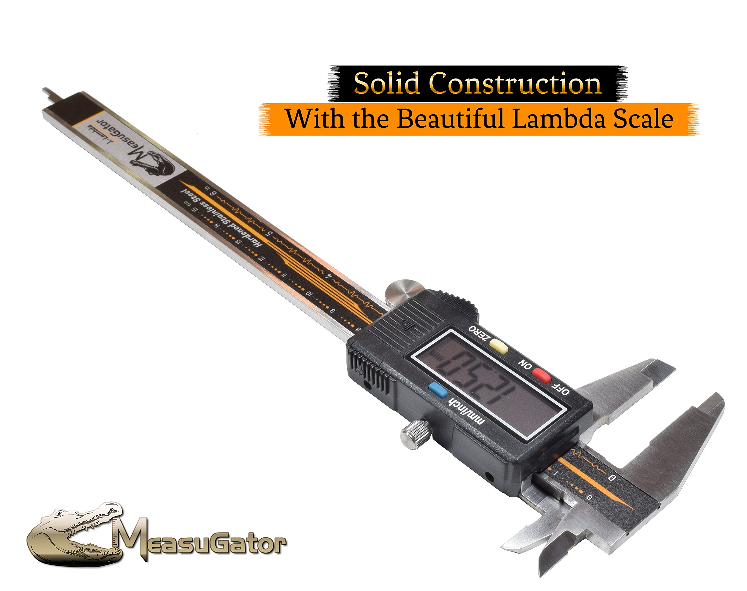 MeasuGator Lambda Digital Caliper, 3 Addons, Verifiable Accuracy, Automatic Off/On, 6 Inch/150 mm Range, SAE/Metric Modes, Premium Quality Stainless Steel Calipers, w/Spare Batteries, Feeler Gauge by MeasuGator (Image #3)