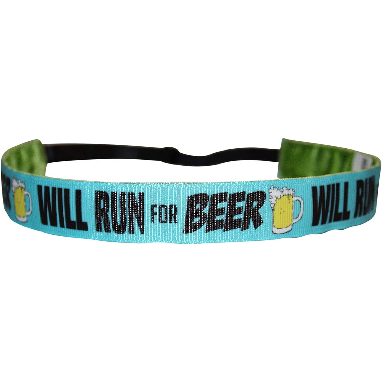 BEACHGIRL Bands Headband - Non-Slip Adjustable Velvet-Lined Sport Hair-Band Beer Run Blue
