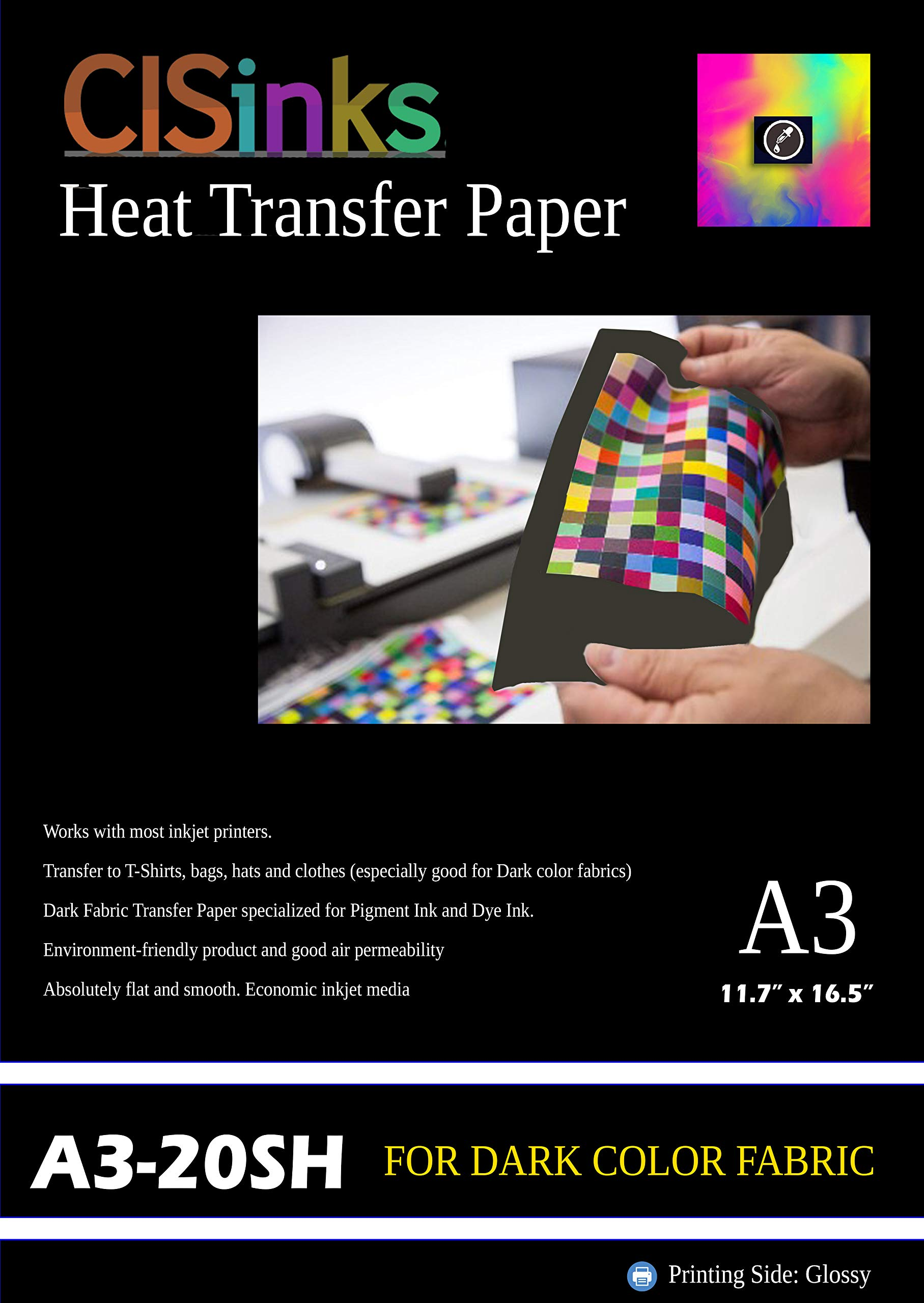 CISinks 20 Sheets Heat Transfer Paper A3 (12'' x 16.5'') for Dark Color Fabrics by CIS Inks