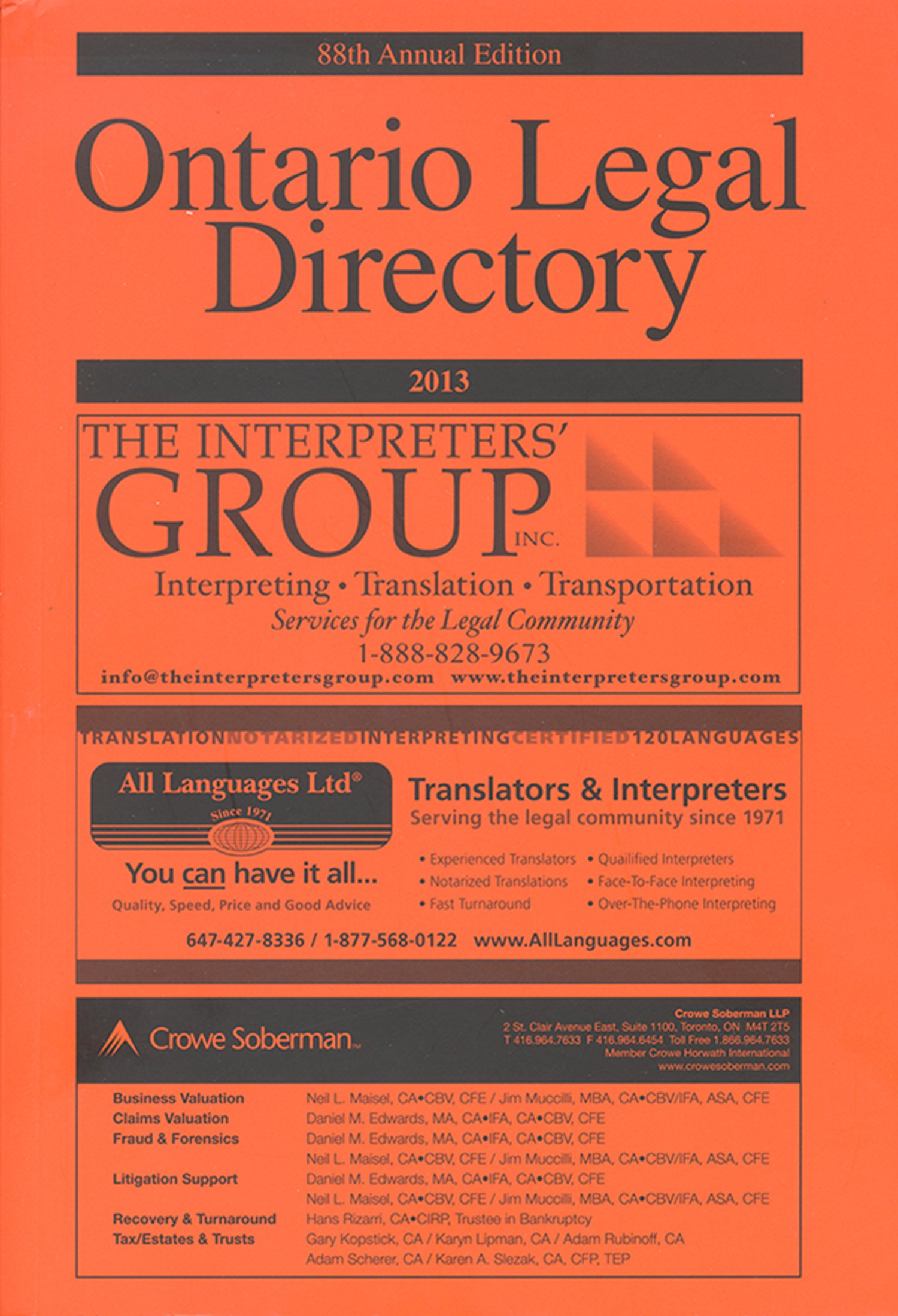 Ontario Legal Directory 2013 Published Annually Since 1925 Browne Lynn 9781442615403 Amazon Com Books