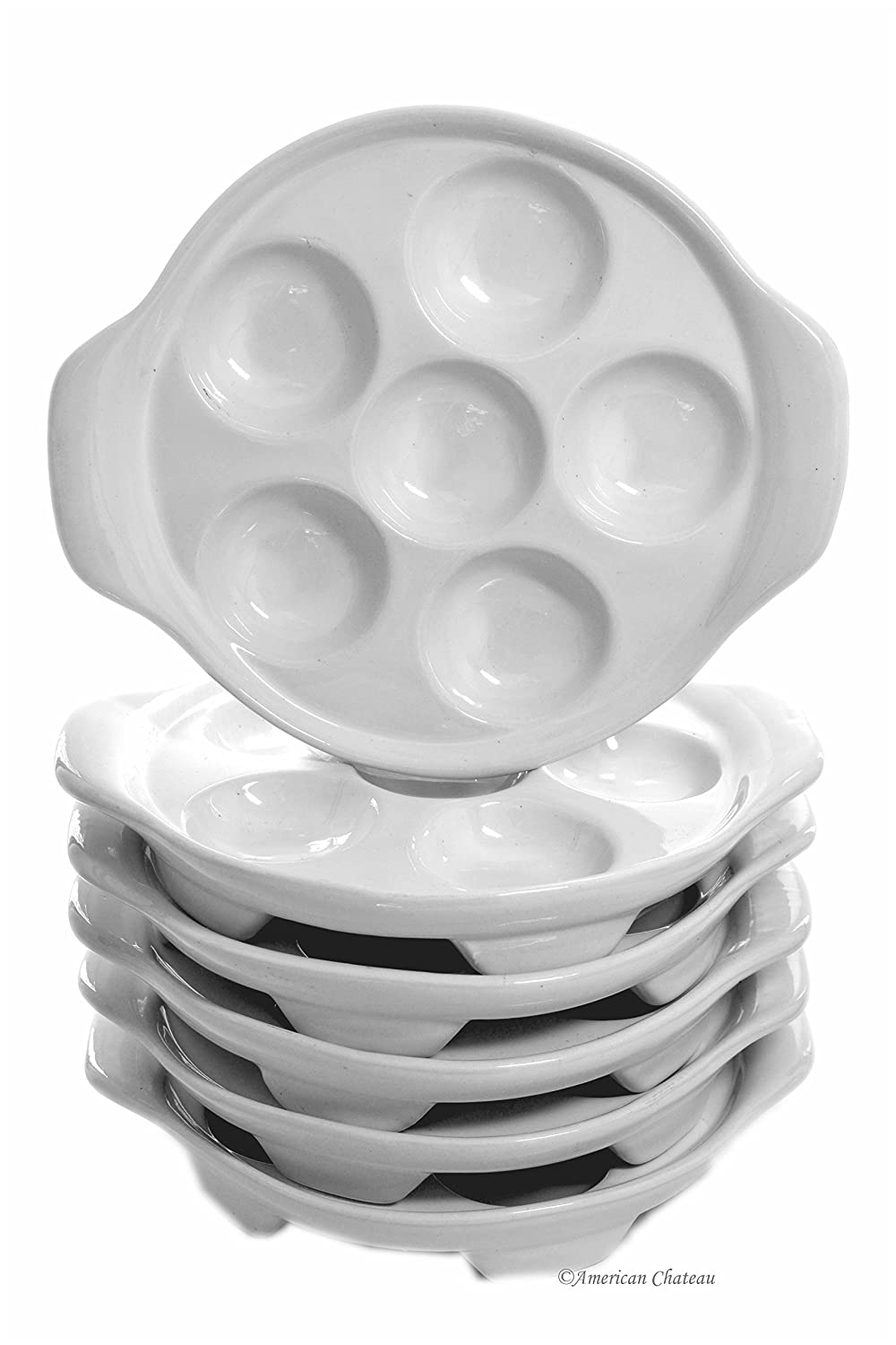 Set 6 Bakeware White Porcelain Snail Mushroom Escargot Casserole Dishes Plates American Chateau