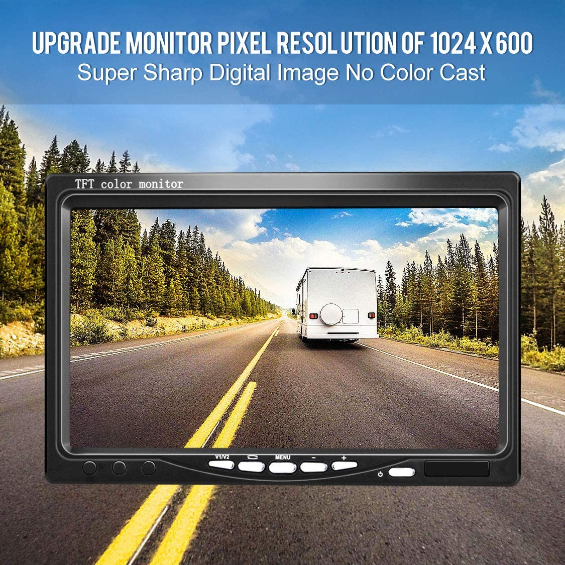 DVKNM Upgrade Backup Camera Monitor Kit,1024X600 HD,IP69 Waterproof Rearview Reversing Rear View Camera 7 LCD Reversing Monitor Truck Semi-Trailer Box Truck RV HD Transmission, Four-pin TZ101