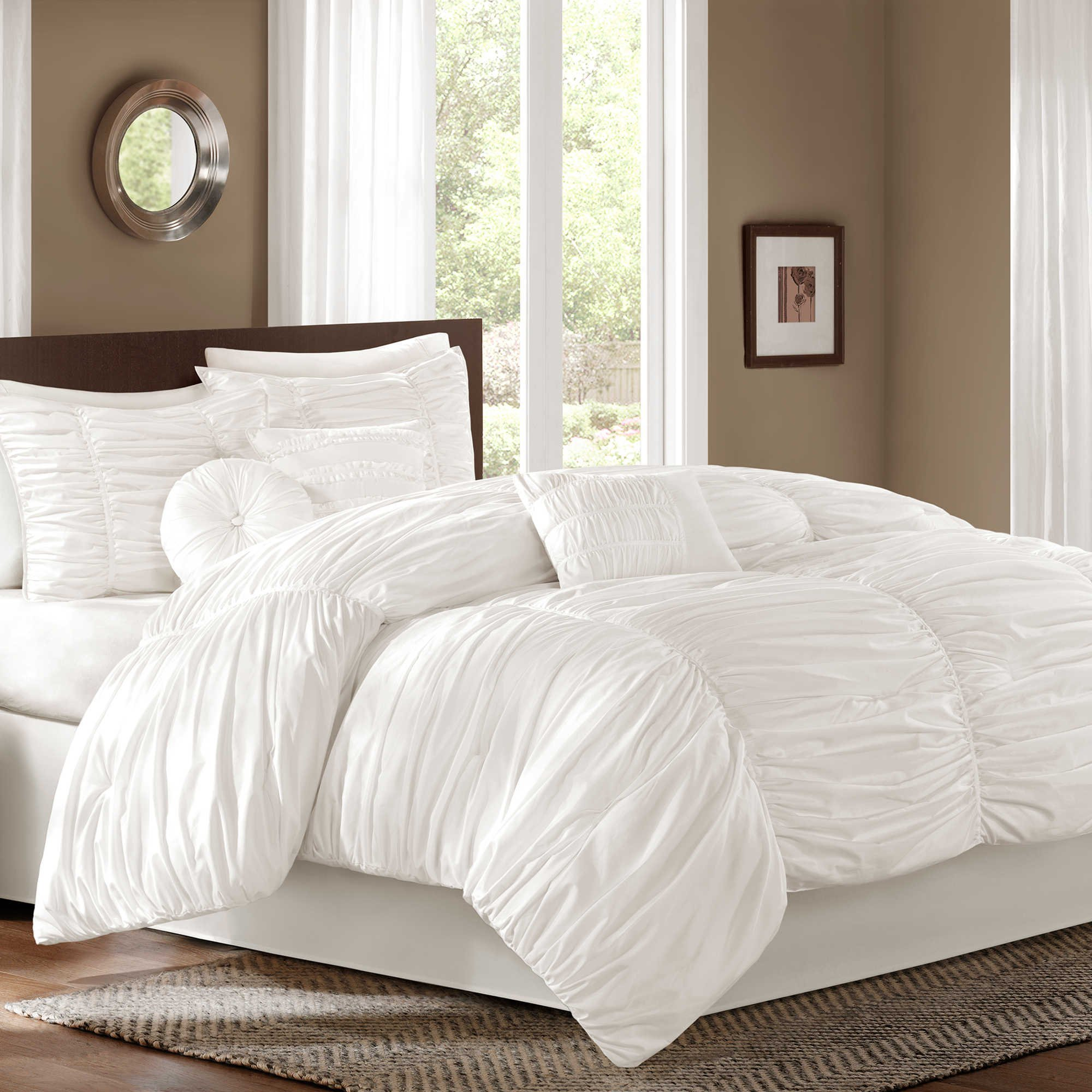 Great Quality Sidney 7 piece Full Comforter Set Features a Billowing, Ruched Fabric, Decorative Pillows in White