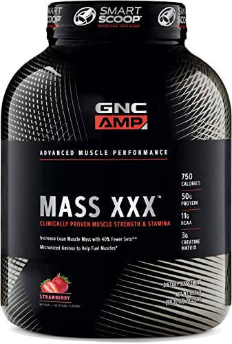 GNC AMP Amplified Mass XXX, Strawberry, 6.2 lb s , Supports Muscle Protein Synthesis