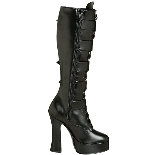 Pleaser Electra 2042 Black Patent Lace Up Strap /& Buckle Stack Heel Knee Boots