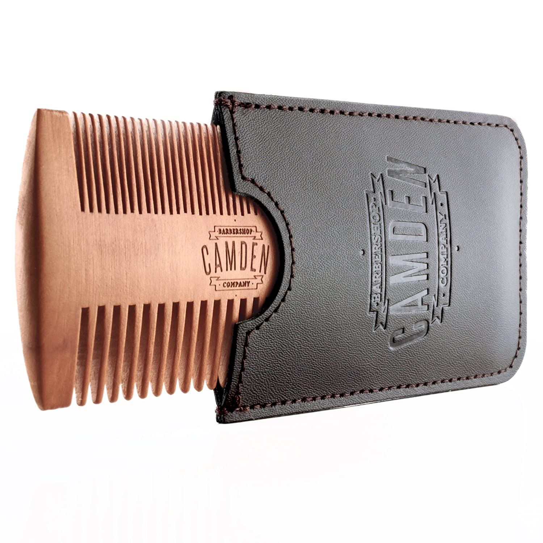 Camden Barbershop Company: Ultralight Bartkamm aus Birnbaumholz inkl. Etui - für die tägliche Bartpflege & das Auftragen von Bartöl/Beard Balm