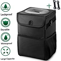 Auesny Upgraded Car Trash Can with Lid and 3 Storage Pockets, with 2 hook,100% Leak-Proof Car Organizer, Waterproof Car…