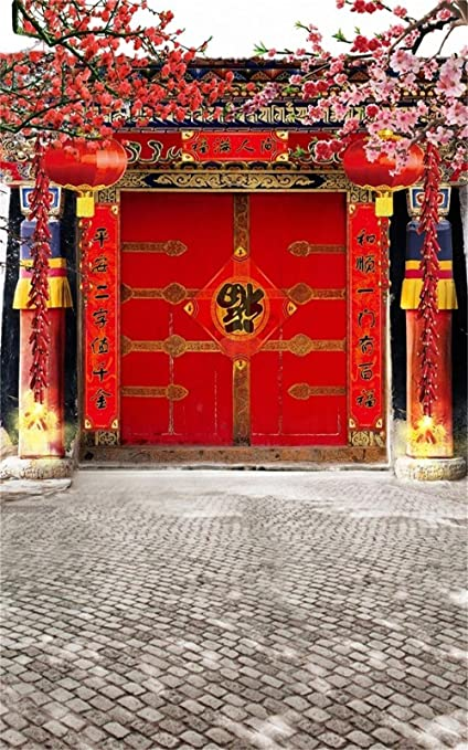 AOFOTO 10x16ft Chinese Spring Festival Photography Studio Backdrop China New Year Front Door Decoration Couplet Firecrackers