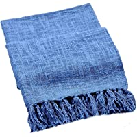 Fashion Throw Soft Cotton Sofa and Couch Throw Blanket with Tassels Size : 50x60 inch (Blue)