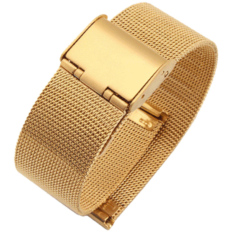 新しいゴールドMilaneseステンレスループスチールバンドMilaneseメッシュ腕時計ストラップ14 mm  B01I70RSUE