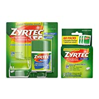 Zyrtec 24 Hour Allergy Relief Tablets, Antihistamine Allergy Medicine with 10 mg Cetirizine HCI, Bundle with 1 x 30 ct and 1 x 3 ct Travel Pack