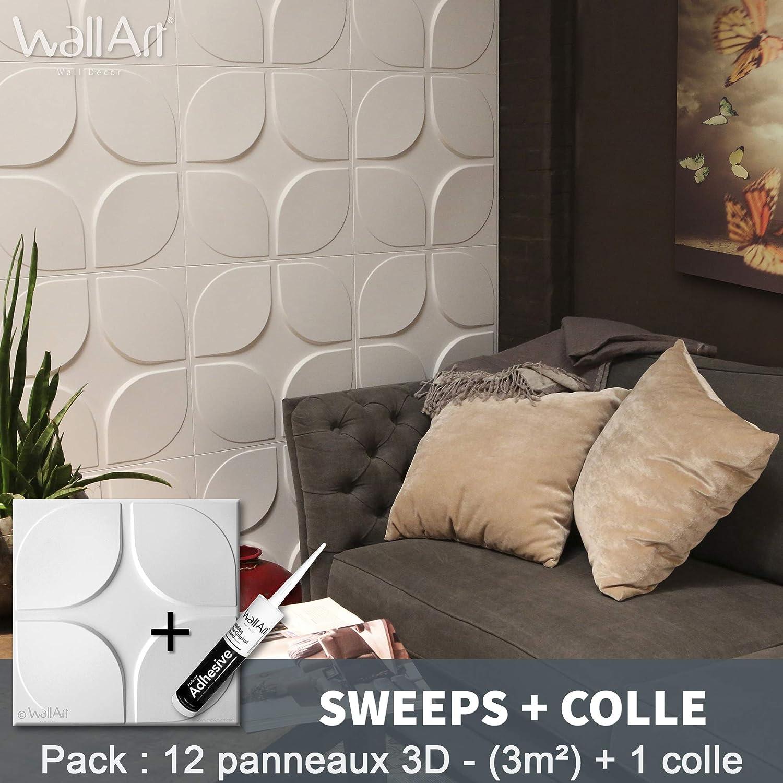 Pegamento Paneles 3D I 12 Paneles Decorativos 3m2 WallArt I Papel Pintado 3D Pared 3D Panel de pared 3D para decoraci/ón de pared 01 - Panel de pared 3D Cullinans