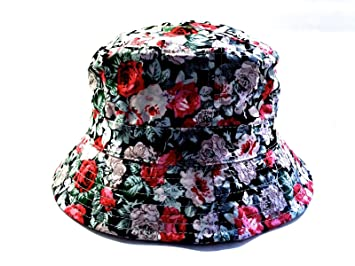 Amazon.com   New Red Floral Hawaiian Bucket Hat Cap One Size Adult ... e912b7177fa