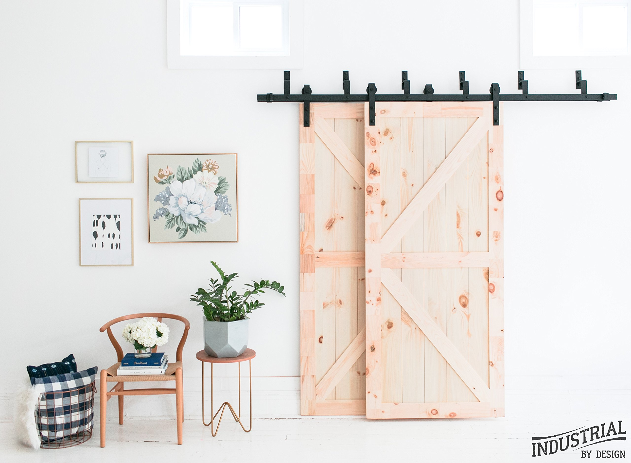 8-Foot Heavy Duty Bypass Sliding Barn Door Hardware Kit (Black) ▫ Includes Easy Step-By-Step Installation Video ▫ Ultra Quiet, Tested Beyond 100,000 Rolls ▫ Superior Quality