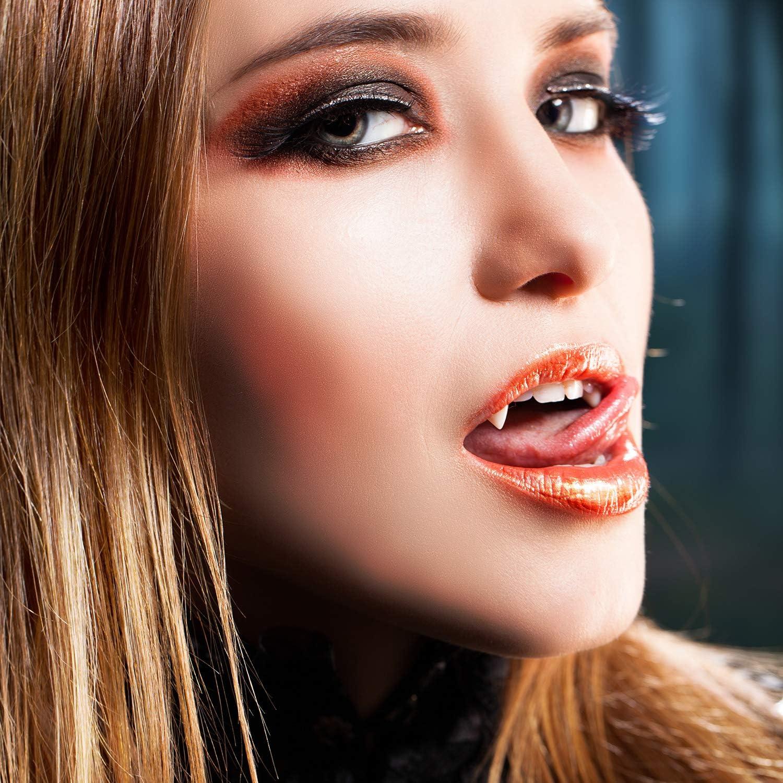 EPCHOO Halloween Vampire Teeth Kit Vampirz/ähne Vampir Fangs Kit 4 Gr/ö/ßen vampirz/ähne Vampir z/ähne Fake Prothesen mit 1 Beutel Zahnpellets Kleber f/ür Cosplay Party Requisiten Halloween-Zubeh/ör