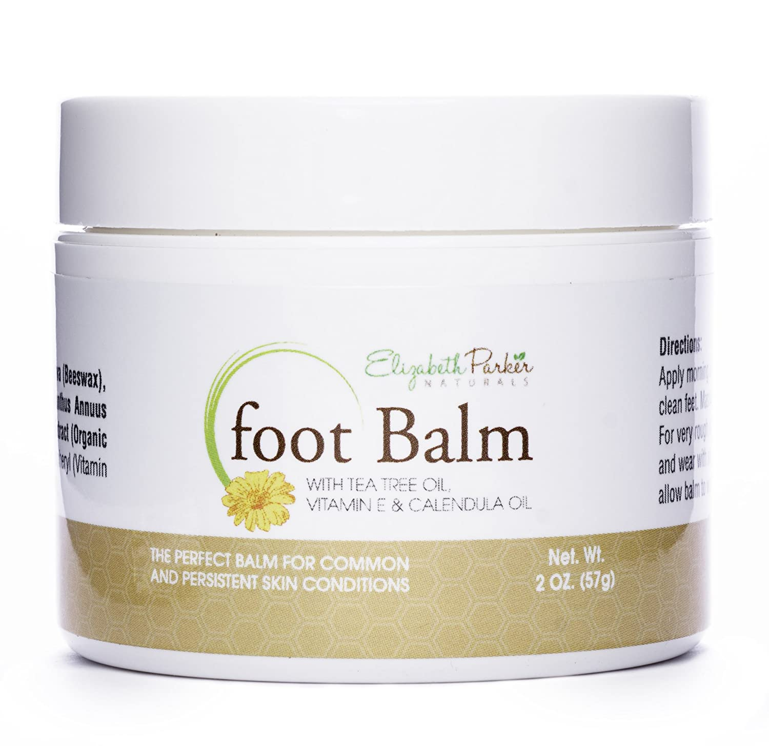Foot Balm for Dry Cracked Feet and Heels with Tea Tree Oil - For Men and Women - All Natural Ingredients 2oz Elizabeth Parker Naturals