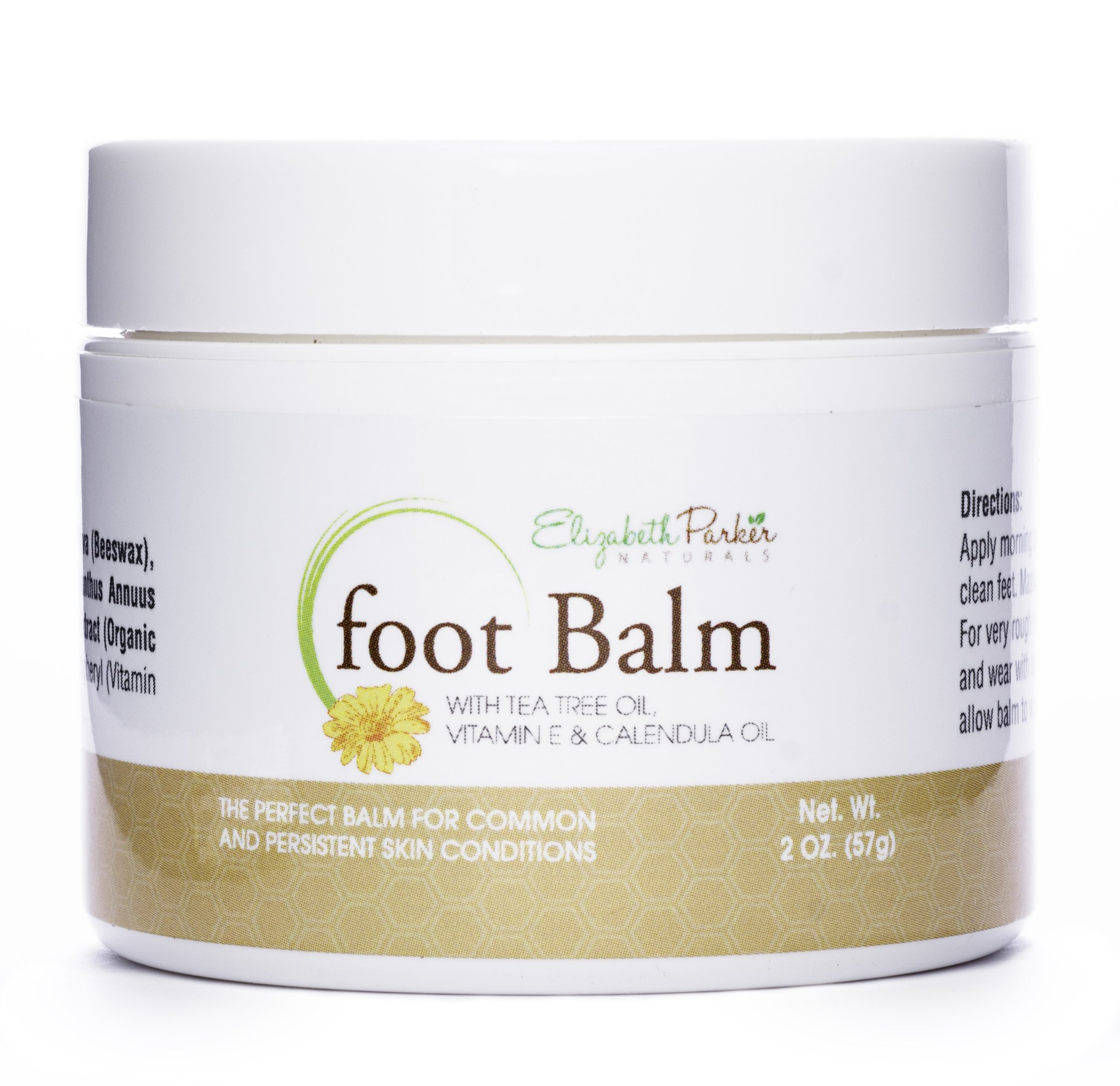 Elizabeth Parker Naturals Foot Balm for Dry Cracked Feet and Heels with Tea Tree Oil - For Men and Women - All Natural Ingredients 2oz