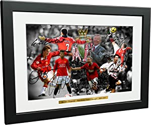 12x8 A4 Signed THE ALEX FERGUSON YEARS Celebration -Cantona-Ronaldo-Beckham-Giggs-Rooney-Scholes Autographed Manchester United Photo Frame Photograph Picture Gift