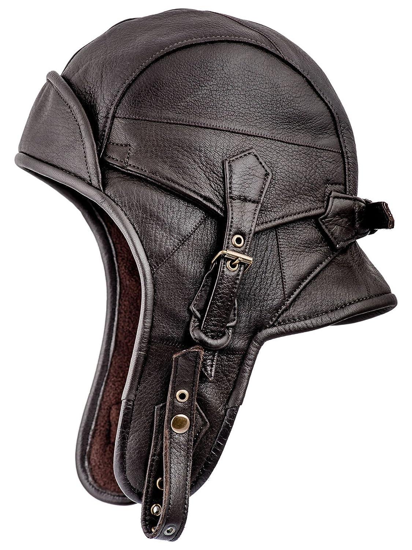 Sterkowski, cappello da aviatore, modello colbacco, in vera pelle SGN-AVP-S08