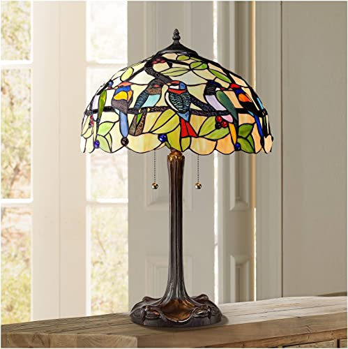 Traditional Table Lamp Bronze Tropical Birds Antique Stained Glass Shade for Living Room Family Bedroom Nightstand – Robert Louis Tiffany