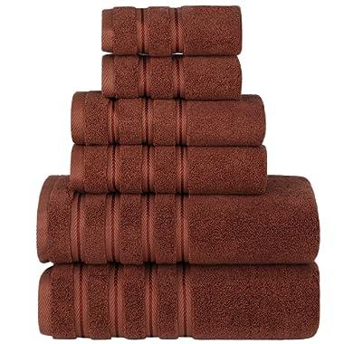 Sofi Towel Bath Towel Set, Premium Luxury Hotel & Spa Quality, 6 Piece 100% Turkish Cotton Bathroom Towels, Super Soft, Highly Absorbent, Eco-Friendly, 2 Bath Towels, 2 Hand Towels,2 Washcloths,Brown