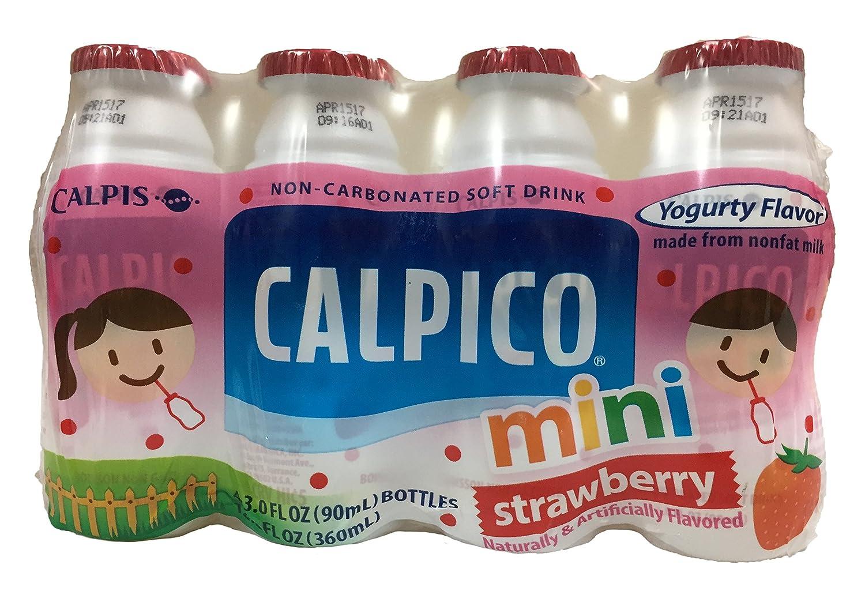 Calpico Mini Non-Carbonated Soft Drink Yogurt Flavor 4 Individual Bottles  Per Pack (Strawberry, 4 Pack)