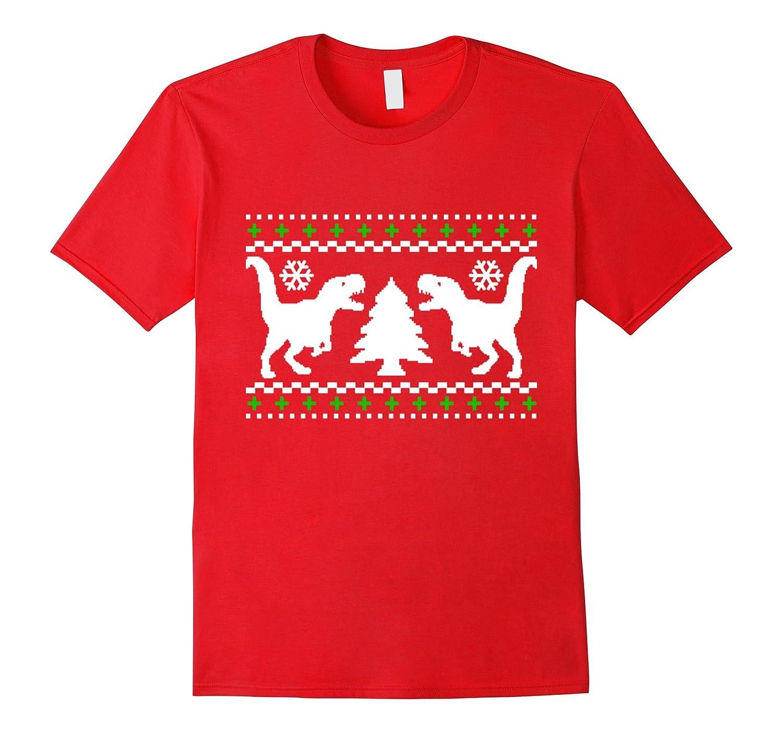 T-Rex Attack Ugly Christmas Xmas Dinosaur T-Shirt Tee-TD