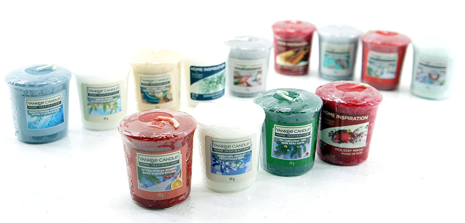 13 x Home Inspiration Official Yankee Candle Merry Christmas Votive Sampler Candles Rare Festive Season Fragrances My Planet Yankee Candle