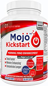 MOJO™ Kickstart - Nootropic Brain Support Supplement | Memory, Focus, Clarity and Concentration Support | Alpha GPC | Huperzine A | Ginkgo Biloba | Bacopa | Ginseng + Money Back Guarantee
