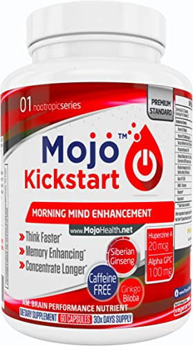 MOJO Kickstart – Nootropic Brain Support Supplement Memory, Focus, Clarity and Concentration Support Alpha GPC Huperzine A Ginkgo Biloba Bacopa Ginseng Money Back Guarantee