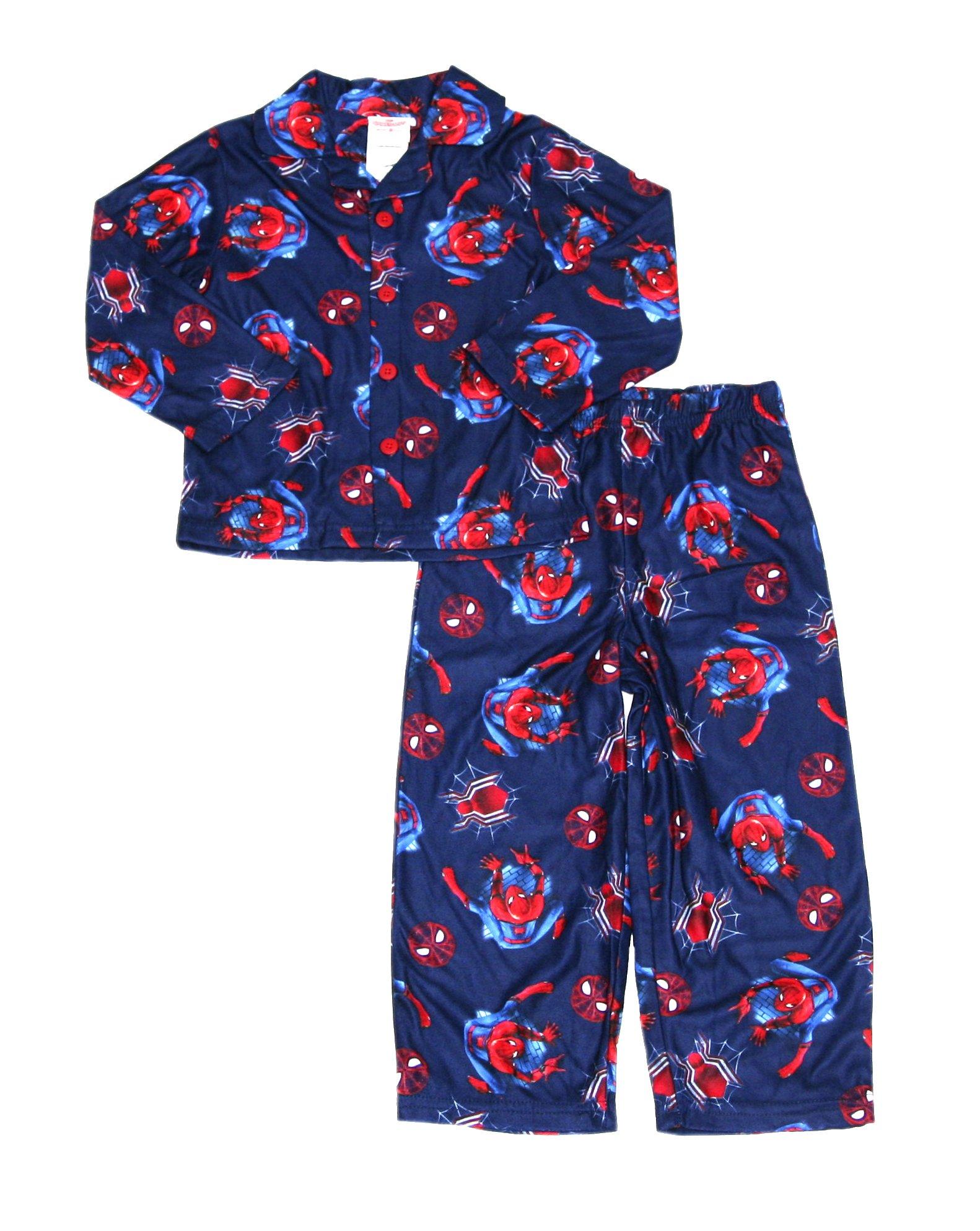 Marvel Little Boys' Spiderman 2-Piece Pajama Coat Set (Navy, 8)
