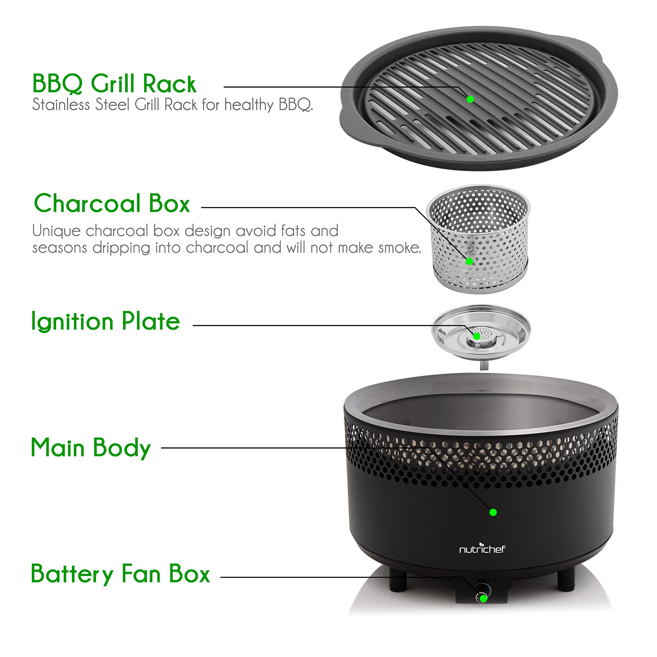 NutriChef Upgraded Charcoal BBQ Grill - Smokeless Portable Outdoor Stainless Steel Compact Easy Cleaning Heavy Duty - Battery Powered W/ Grilling Rack Coal Basket Ignition Tray & Box Set - PKGRCH41 by NutriChef (Image #2)