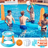 KIDPAR Inflatable Pool Float Set Volleyball Game and Basketball Hoops with 2 Balls Kids and Adults Swimming Game Toy, Floatin