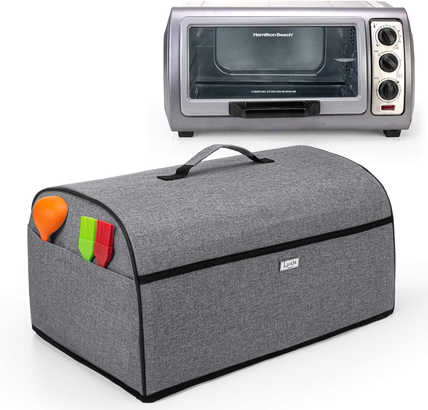 Luxja Toaster Oven Cover Compatible with Hamilton Beach 6-Slice Toaster Oven, Gray