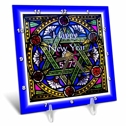 3drose jewish themes image of happy new year on gorgeous stained glass star 6x6