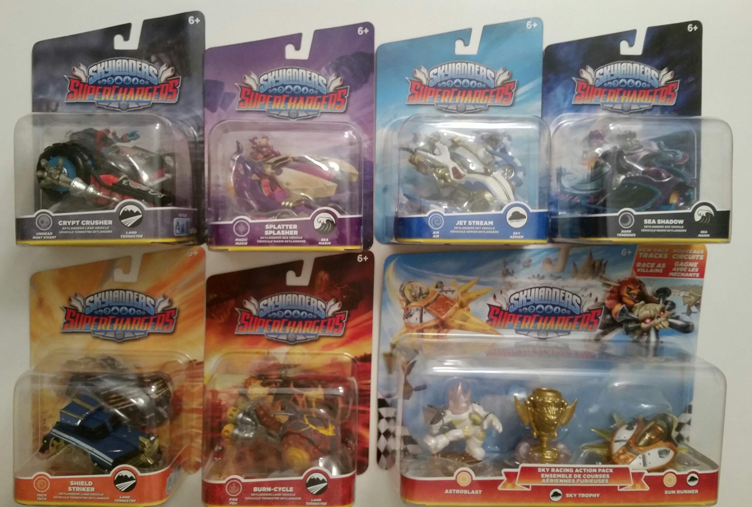 Skylanders SuperChargers 7 Pack Vehicle Starter Bundle! 7 Vehicles, 1 Trophy, 1 Character: Crypt Crusher, Sea Shadow,Jet Stream, Splatter Splasher,Shield Striker, Burn -Cycle, and Sky Racing Pack