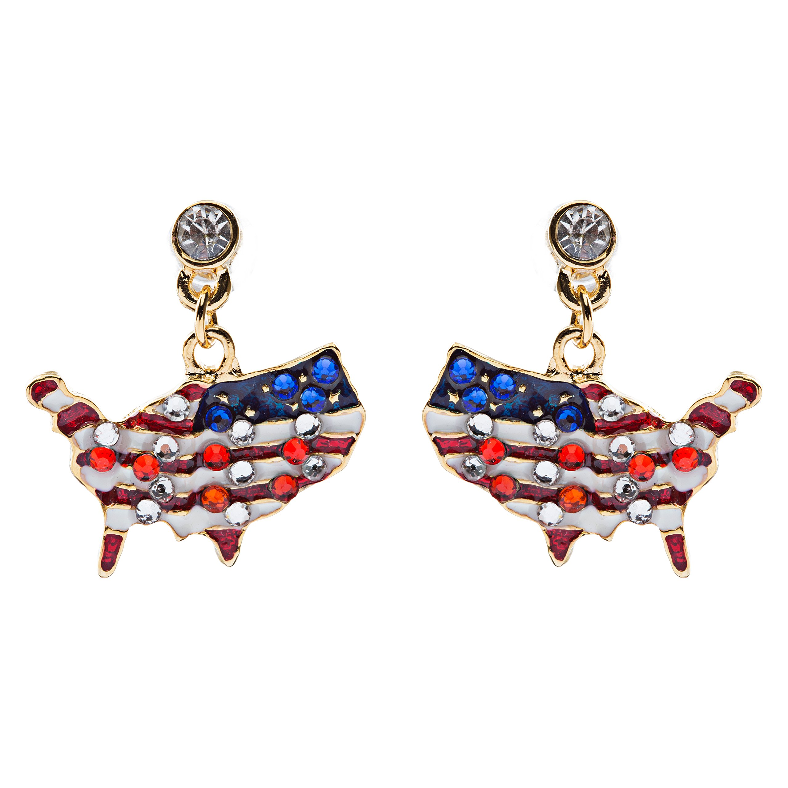 ACCESSORIESFOREVER Patriotic Jewelry Crystal Rhinestone American Flag Dangle Earrings E762 Gold