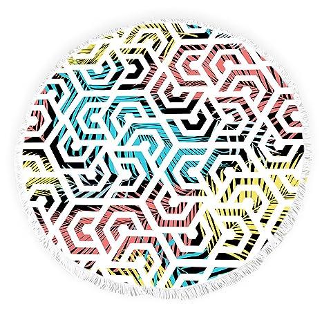 Toallas de Playa Redondas con borlas de Plantas Tropicales Geometry Doodle Art Flinged Círculo Grueso Gitano